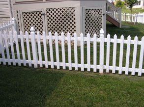 4' High White Vinyl Picket Fence