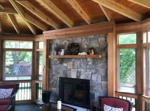 Screen Porch with Stone Fireplace