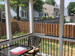 Deck Porch with White Vinyl Rail